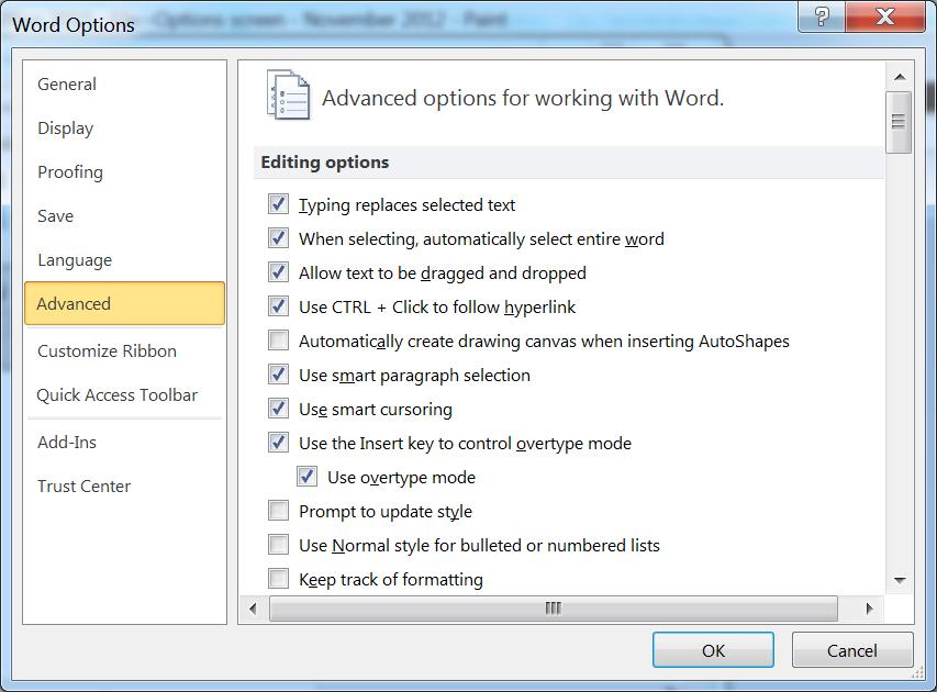 MS Office QuickTip: Re-enabling Overtype Mode in Word 2010 - Joe