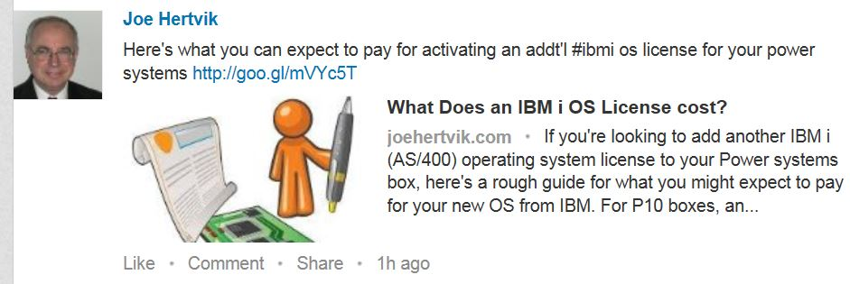 Linked status update example