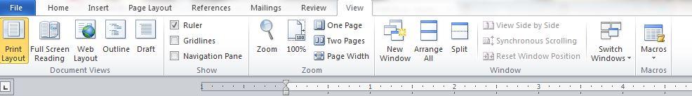 MS Word 2010 menu bar view area
