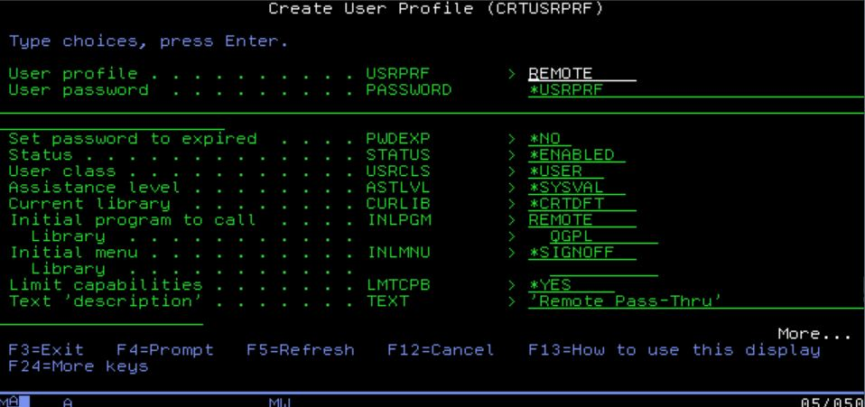 IBM i remote user profile setup