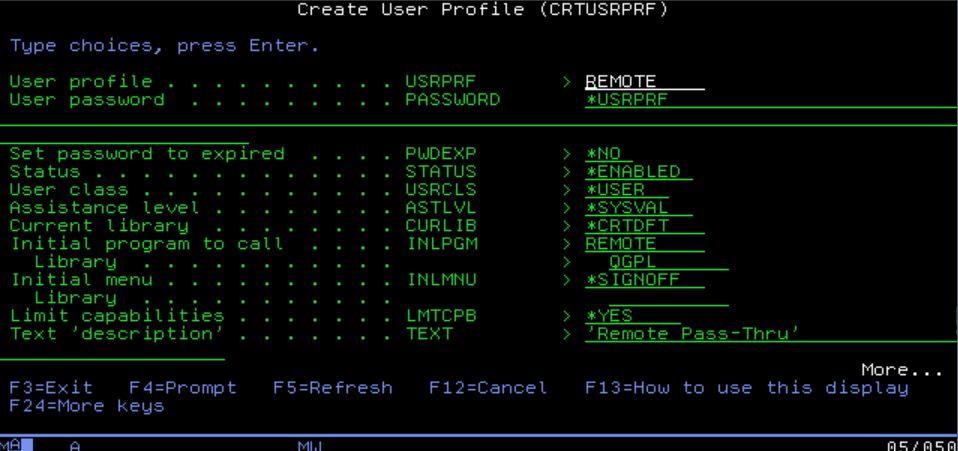 IBM i remote user profile setup
