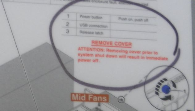 Power 7 720 Remove cover warning label