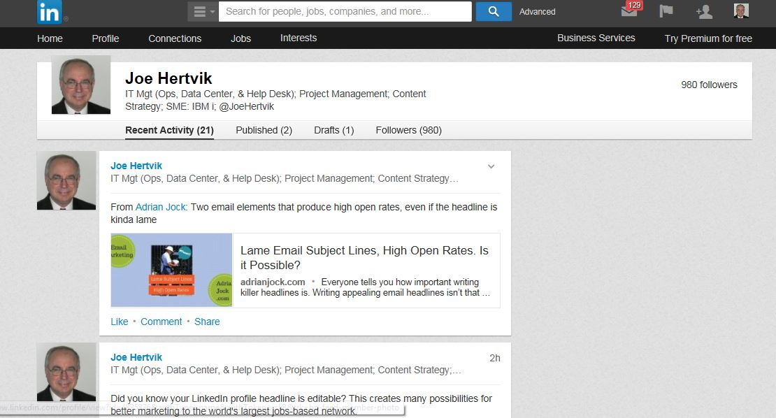 Recent LinkedIn Activity page