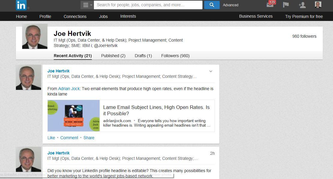 Recent LinkedIn Activity page