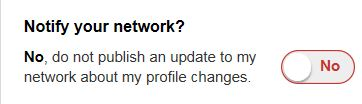 linkedin--Notify your network about profile changes button