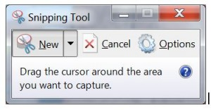 MS Snipping Tools screen