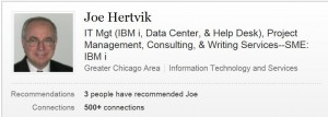 Joe hertvik linkedin name display