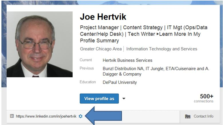 LinkedIn--customize your public profile URL