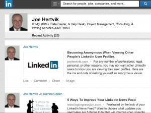 Linkedin sample view activity feed screen