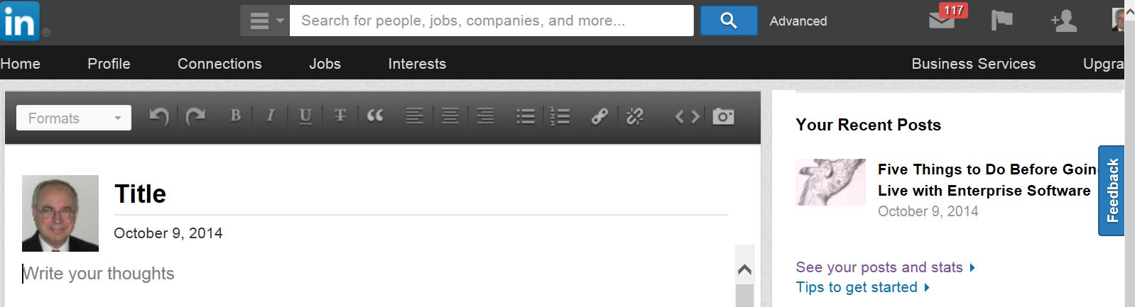 LinkedIn publishing toolbar is similar to WordPress