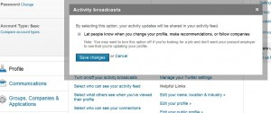 LinkedIn--Limiting Activity Broadcasts