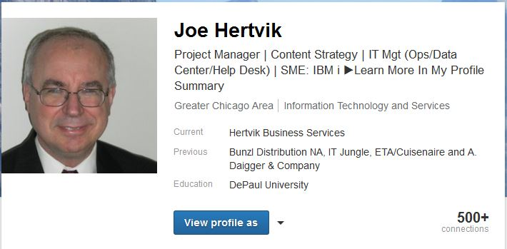 joe hertvik linkedin profile headline--7-9-15